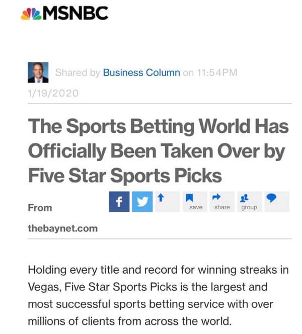 Five Star Sports Picks MSNBC News Article